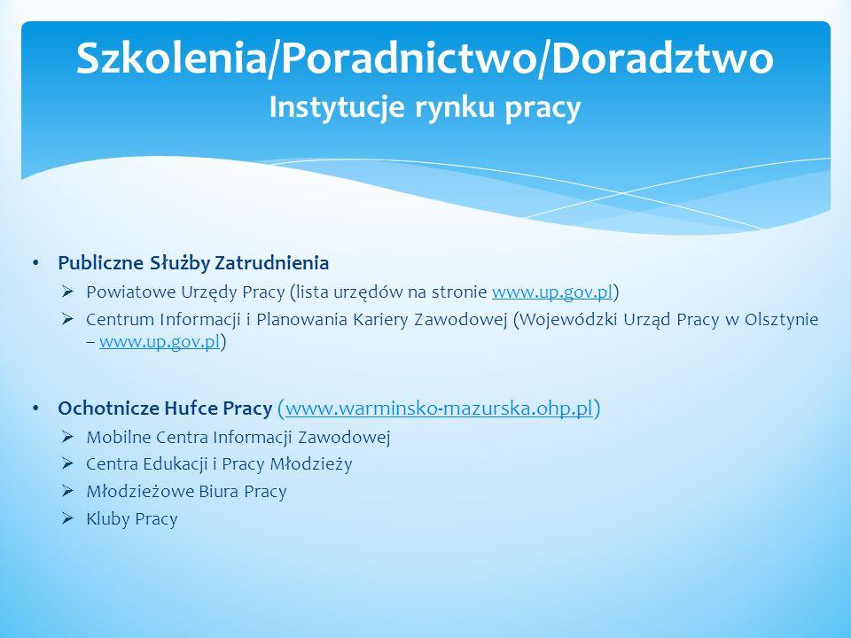 Szkolenia/Poradnictwo/Doradztwo Instytucje rynku pracy