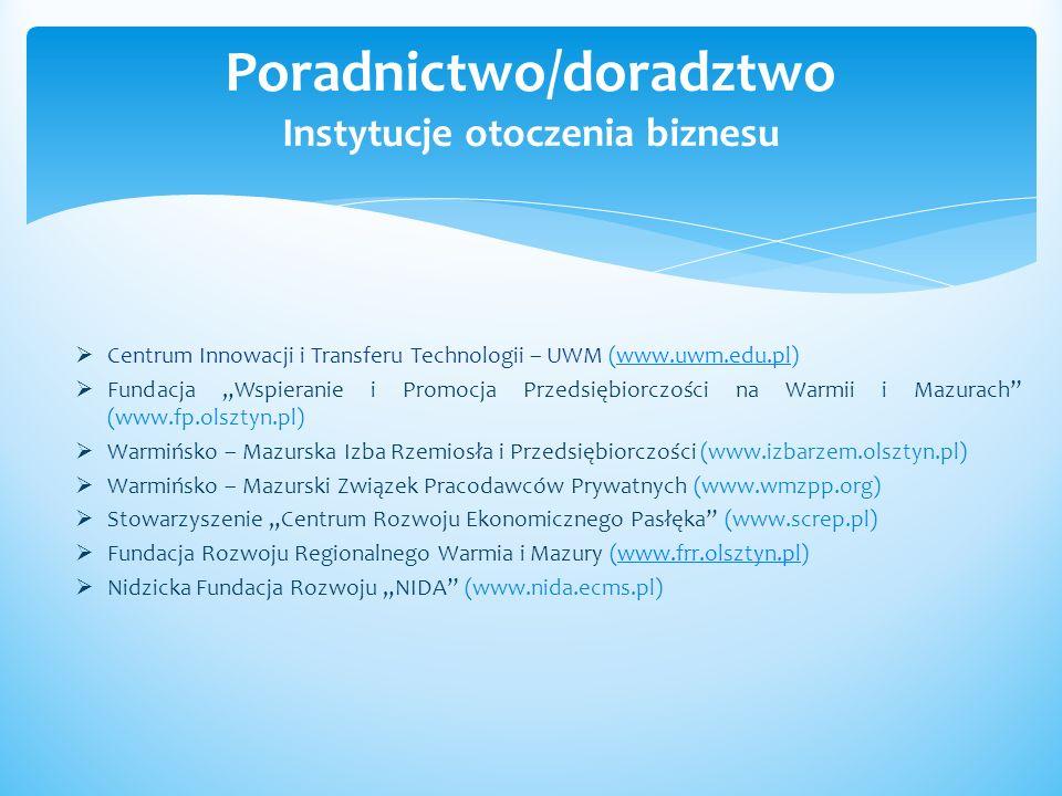 Poradnictwo/doradztwo Instytucje otoczenia biznesu