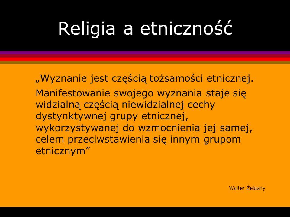 """Religia a etniczność """"Wyznanie jest częścią tożsamości etnicznej."""