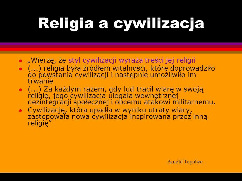 """Religia a cywilizacja """"Wierzę, że styl cywilizacji wyraża treści jej religii."""