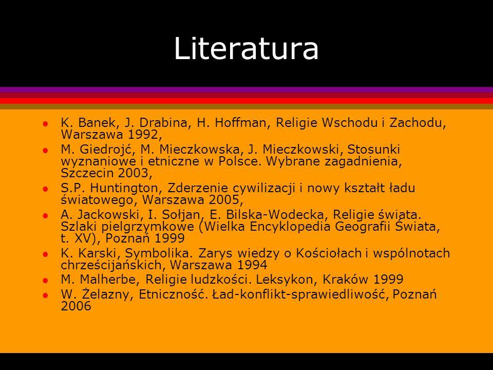 Literatura K. Banek, J. Drabina, H. Hoffman, Religie Wschodu i Zachodu, Warszawa 1992,