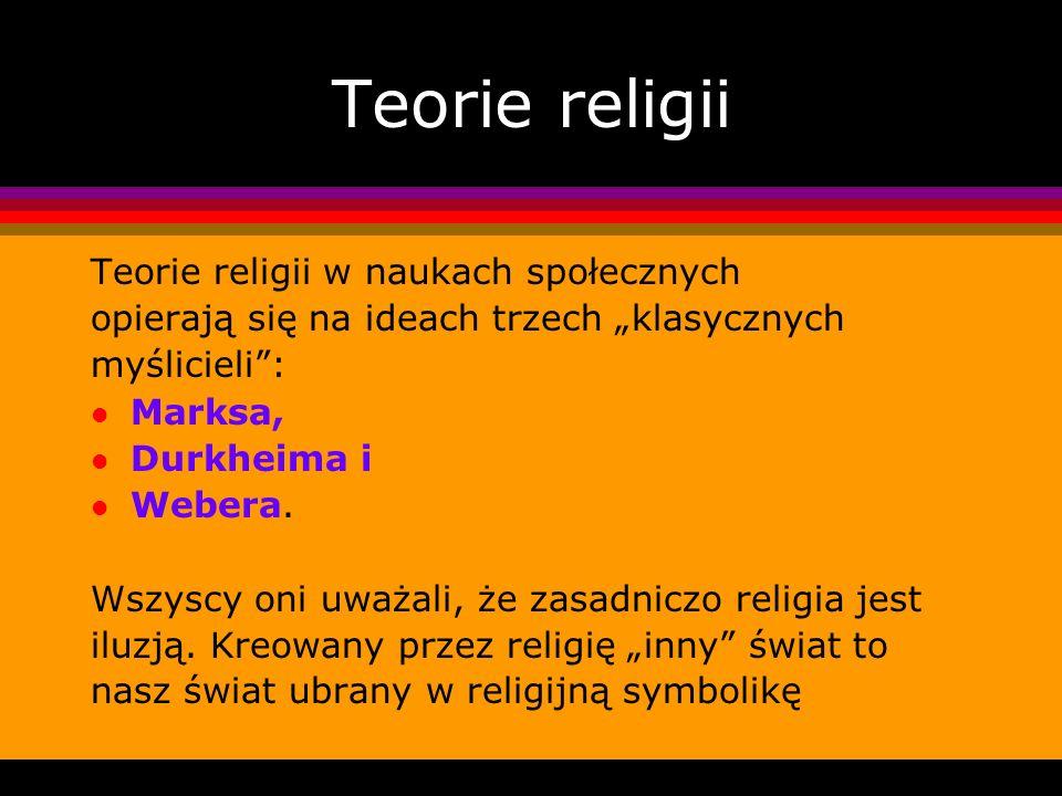 Teorie religii Teorie religii w naukach społecznych