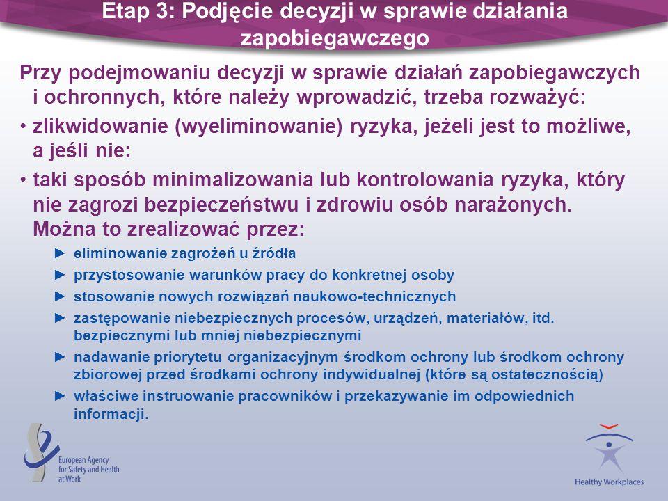 Etap 3: Podjęcie decyzji w sprawie działania zapobiegawczego