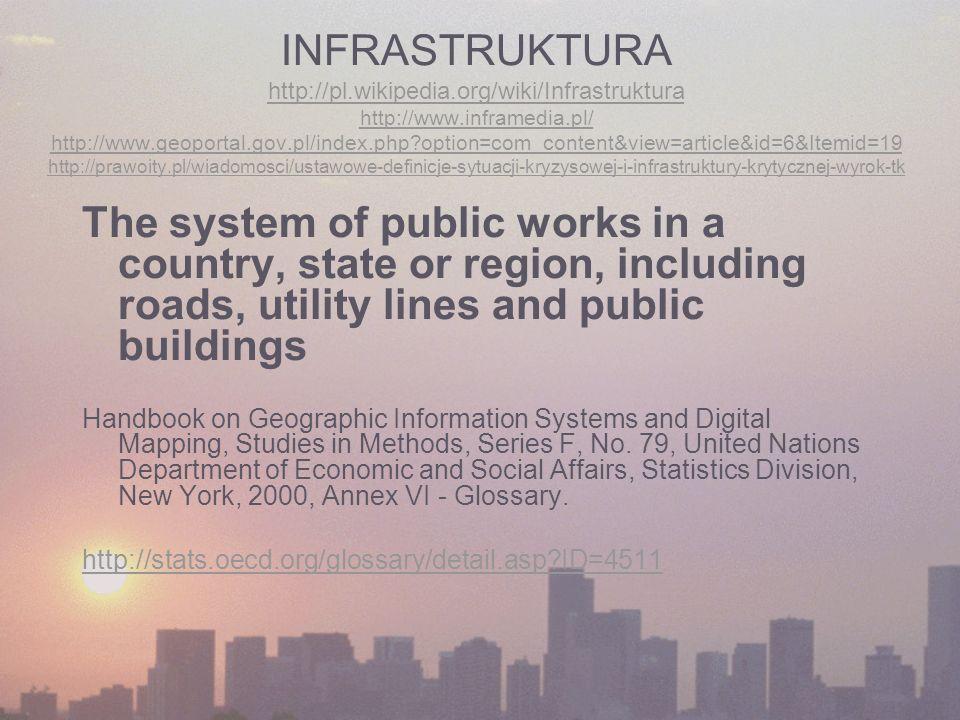 INFRASTRUKTURA http://pl.wikipedia.org/wiki/Infrastruktura http://www.inframedia.pl/ http://www.geoportal.gov.pl/index.php option=com_content&view=article&id=6&Itemid=19 http://prawoity.pl/wiadomosci/ustawowe-definicje-sytuacji-kryzysowej-i-infrastruktury-krytycznej-wyrok-tk