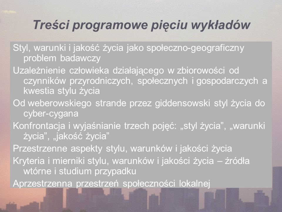Treści programowe pięciu wykładów
