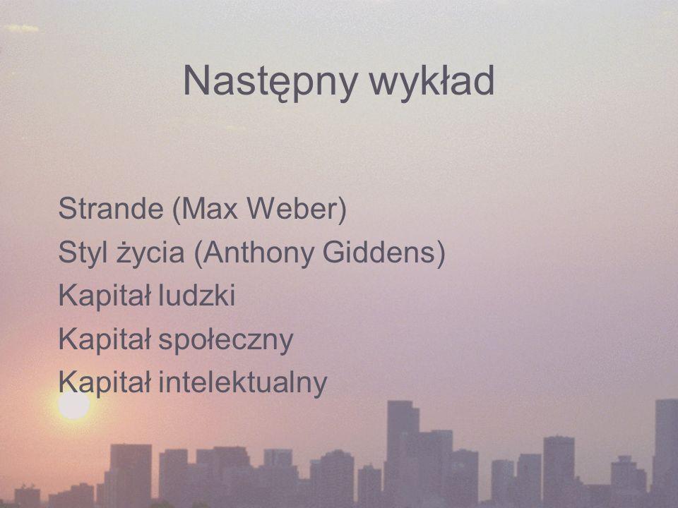 Następny wykład Strande (Max Weber) Styl życia (Anthony Giddens)