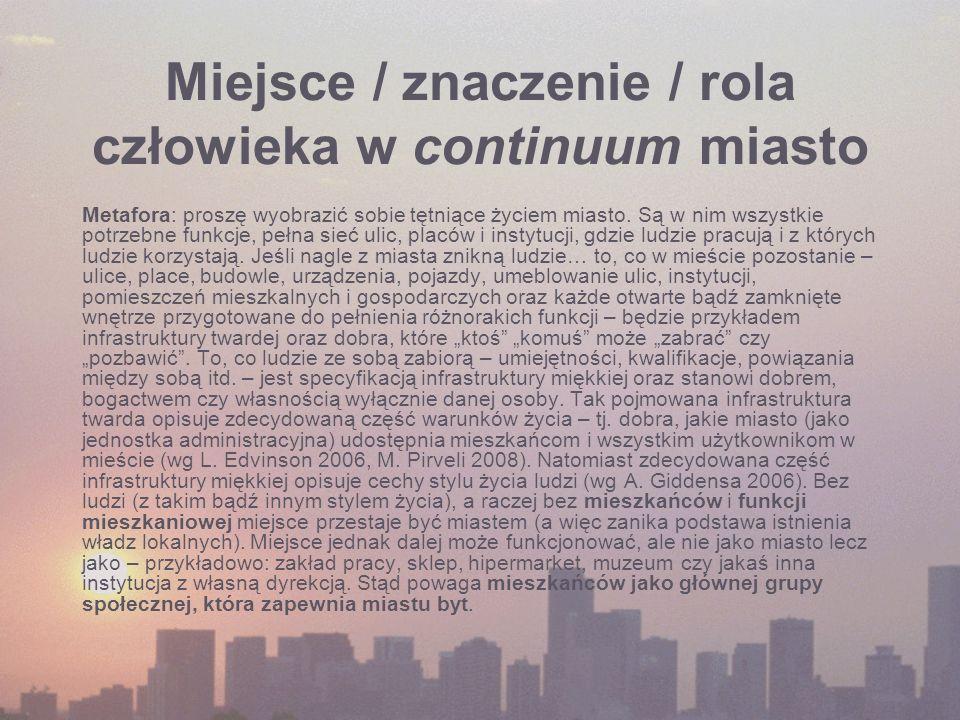 Miejsce / znaczenie / rola człowieka w continuum miasto