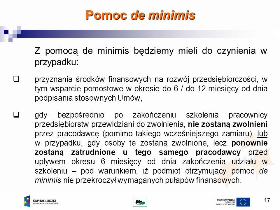 Pomoc de minimis Z pomocą de minimis będziemy mieli do czynienia w przypadku: