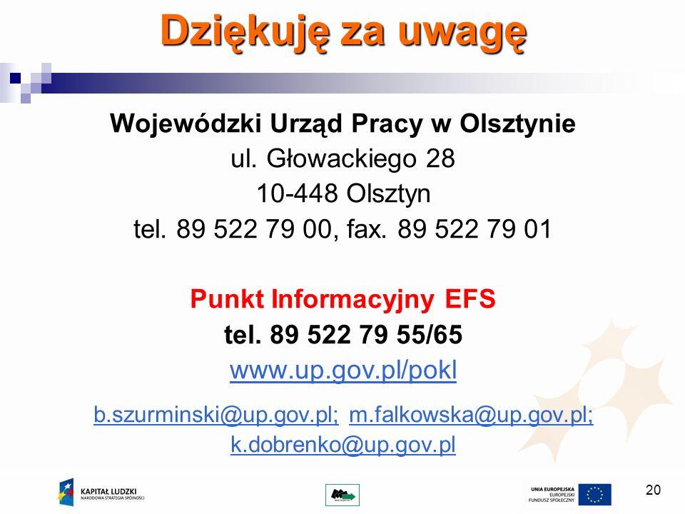 Wojewódzki Urząd Pracy w Olsztynie Punkt Informacyjny EFS