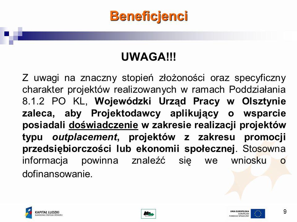 Beneficjenci UWAGA!!!