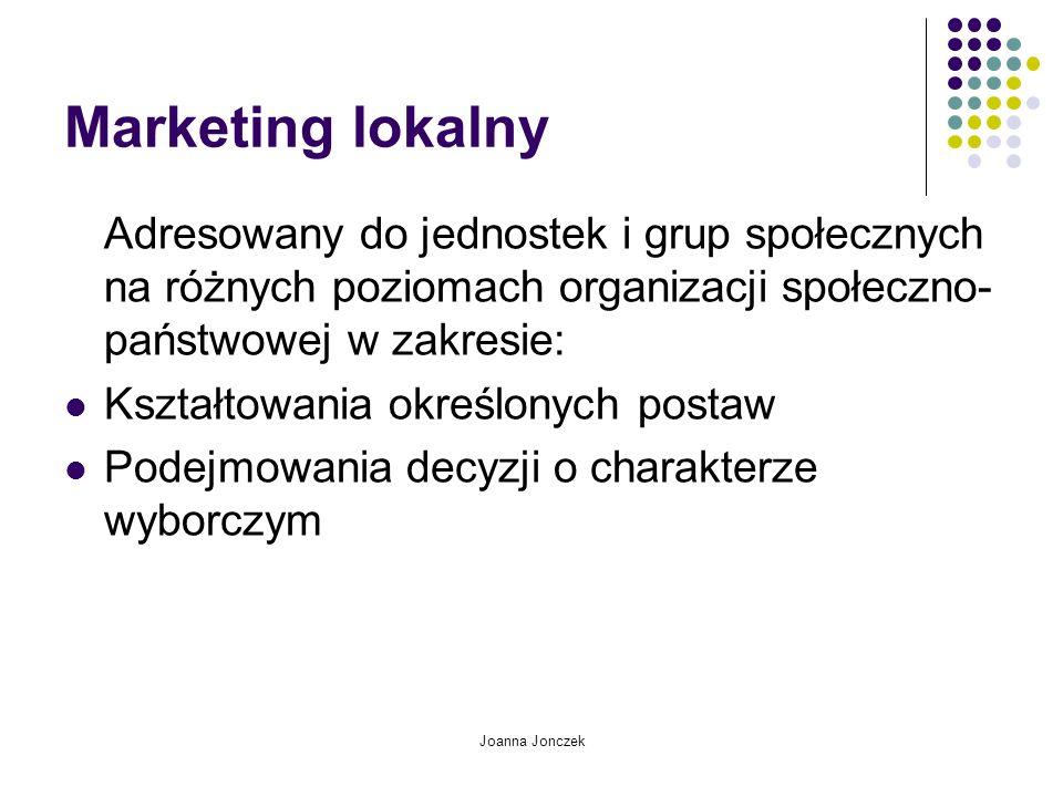 Marketing lokalny Adresowany do jednostek i grup społecznych na różnych poziomach organizacji społeczno-państwowej w zakresie: