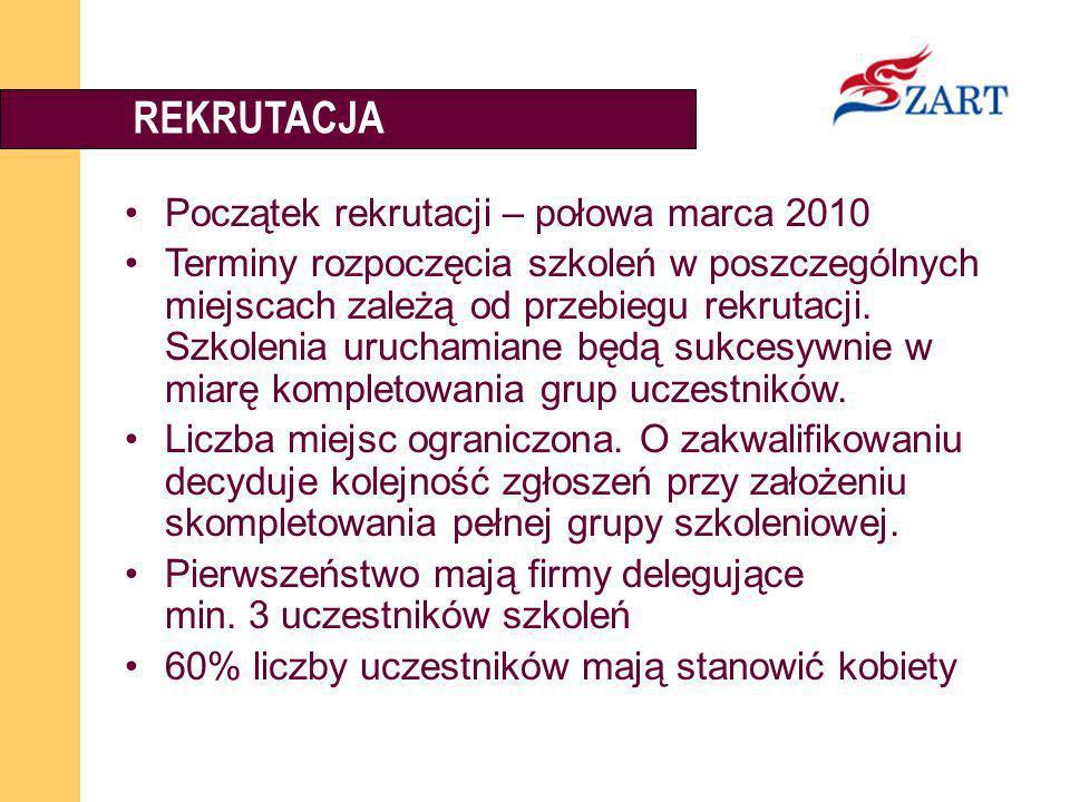 REKRUTACJA Początek rekrutacji – połowa marca 2010
