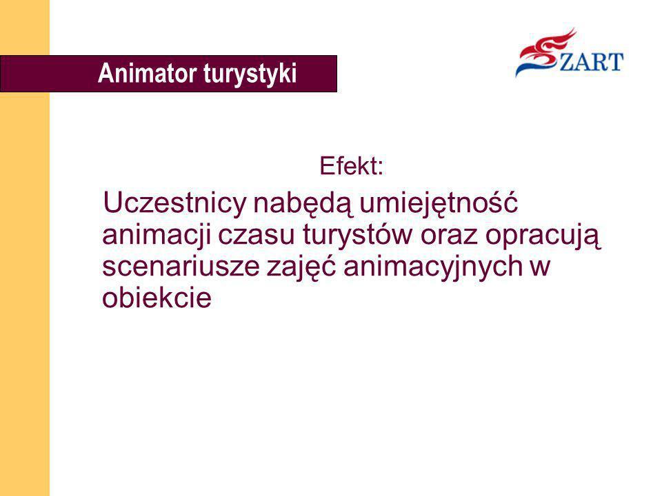 Animator turystyki Efekt: Uczestnicy nabędą umiejętność animacji czasu turystów oraz opracują scenariusze zajęć animacyjnych w obiekcie.