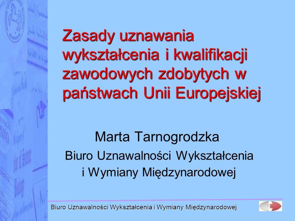 Zasady uznawania wykształcenia i kwalifikacji zawodowych zdobytych w państwach Unii Europejskiej