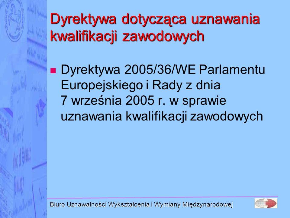 Dyrektywa dotycząca uznawania kwalifikacji zawodowych