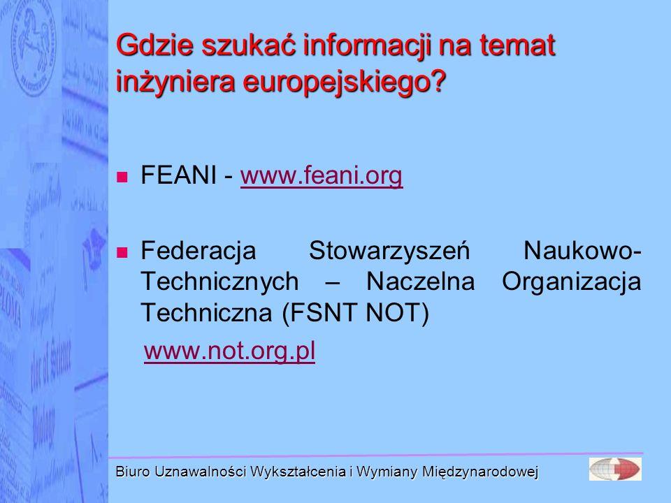 Gdzie szukać informacji na temat inżyniera europejskiego