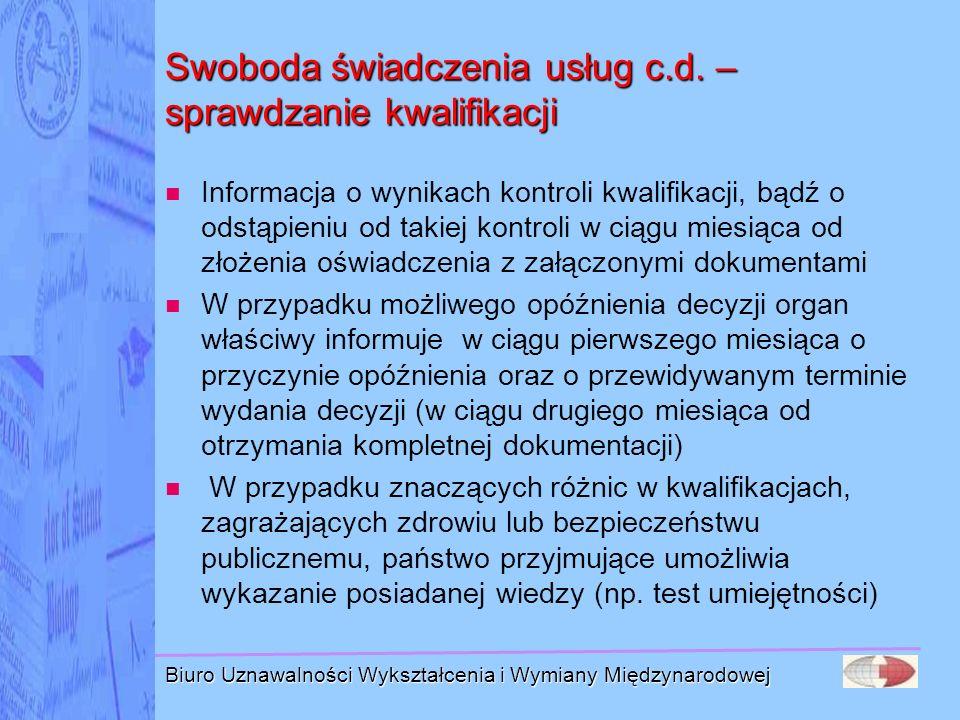 Swoboda świadczenia usług c.d. – sprawdzanie kwalifikacji