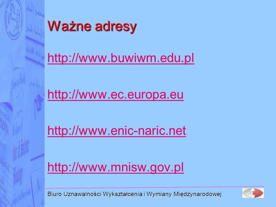 Ważne adresy http://www.buwiwm.edu.pl http://www.ec.europa.eu