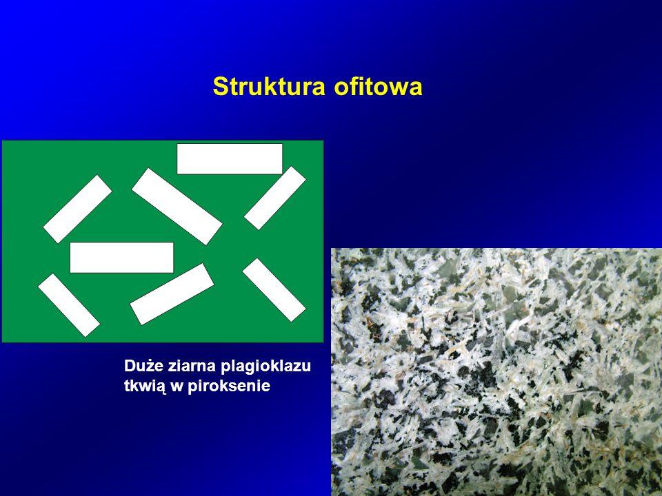 Struktura ofitowa Duże ziarna plagioklazu tkwią w piroksenie