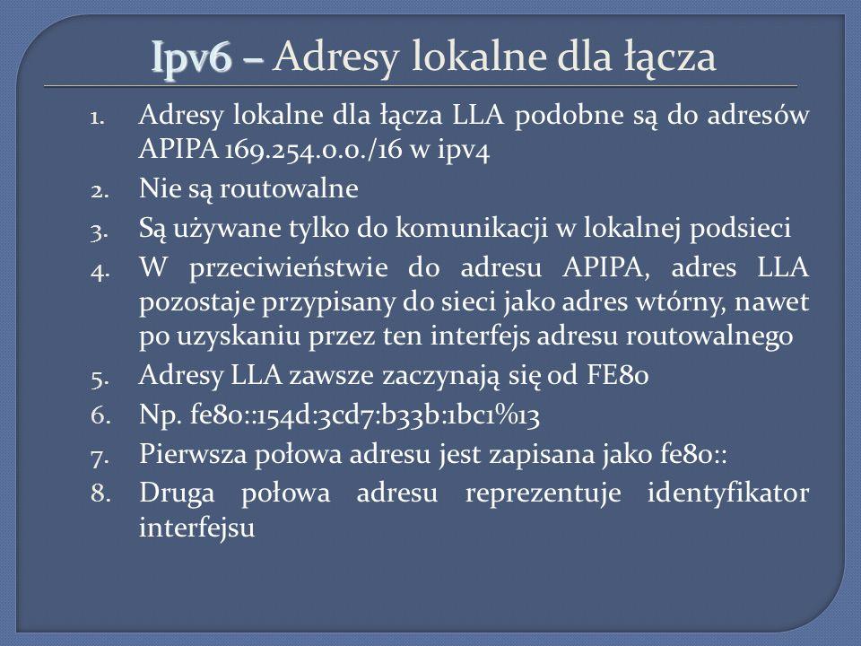 Ipv6 – Adresy lokalne dla łącza