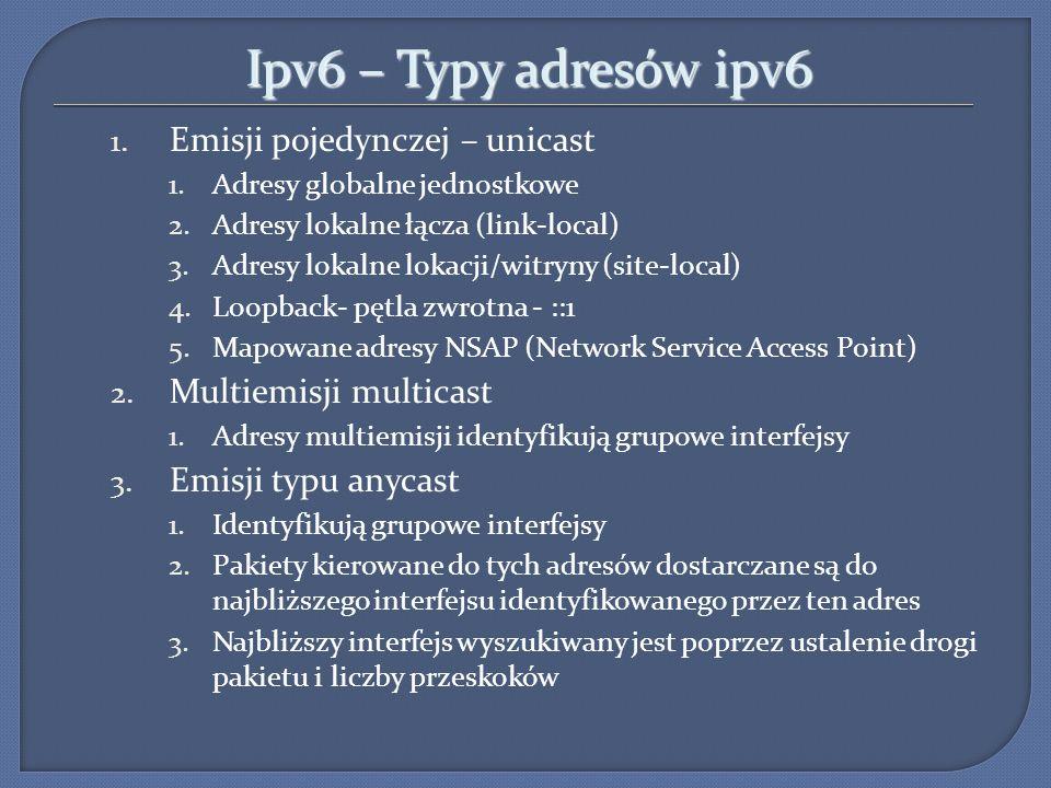 Ipv6 – Typy adresów ipv6 Emisji pojedynczej – unicast