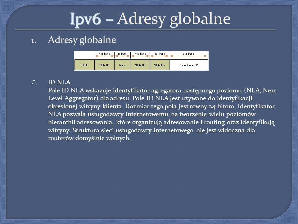 Ipv6 – Adresy globalne Adresy globalne