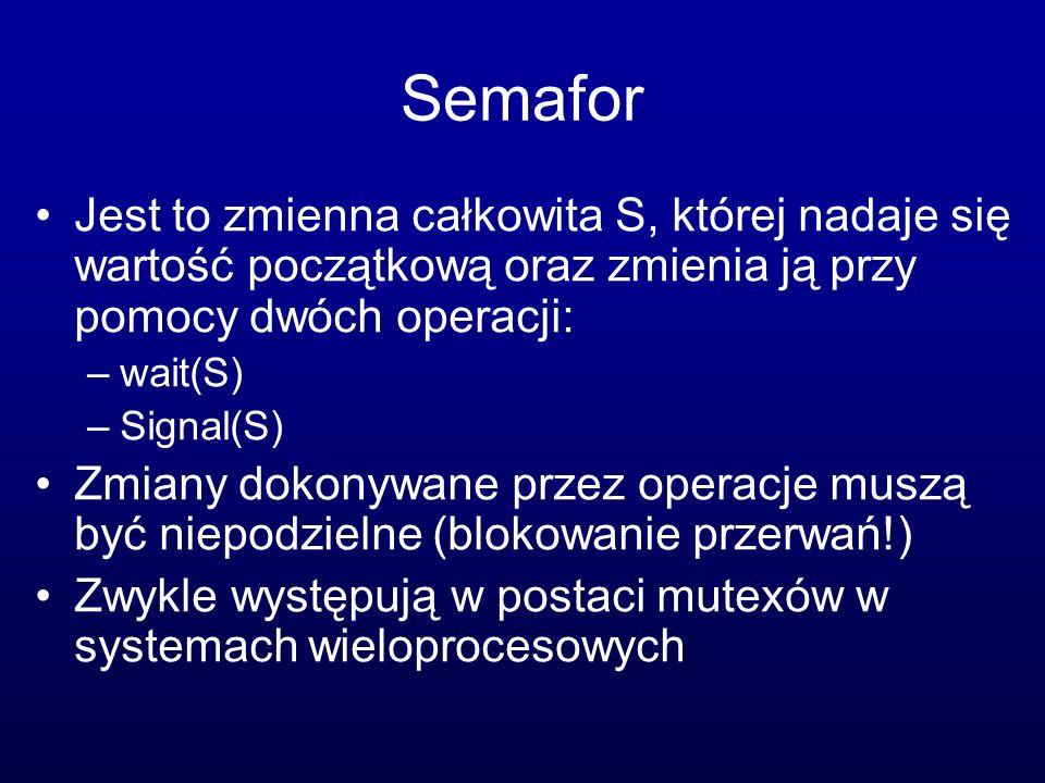 Semafor Jest to zmienna całkowita S, której nadaje się wartość początkową oraz zmienia ją przy pomocy dwóch operacji: