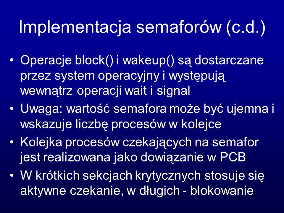 Implementacja semaforów (c.d.)