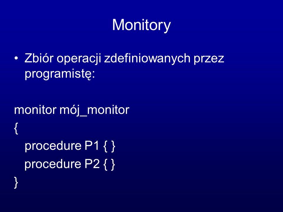 Monitory Zbiór operacji zdefiniowanych przez programistę: