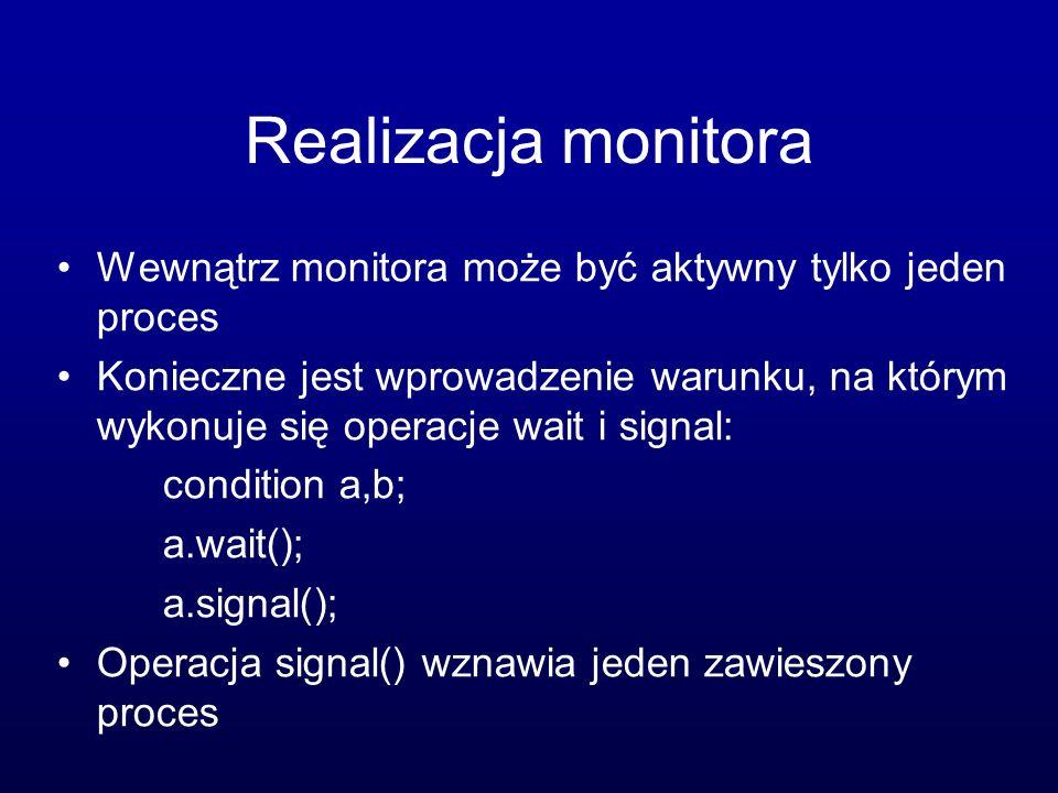 Realizacja monitora Wewnątrz monitora może być aktywny tylko jeden proces.