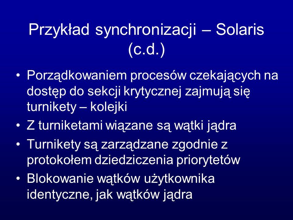 Przykład synchronizacji – Solaris (c.d.)