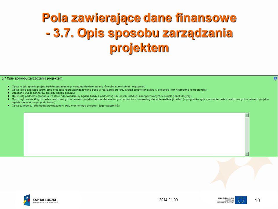 Pola zawierające dane finansowe - 3. 7