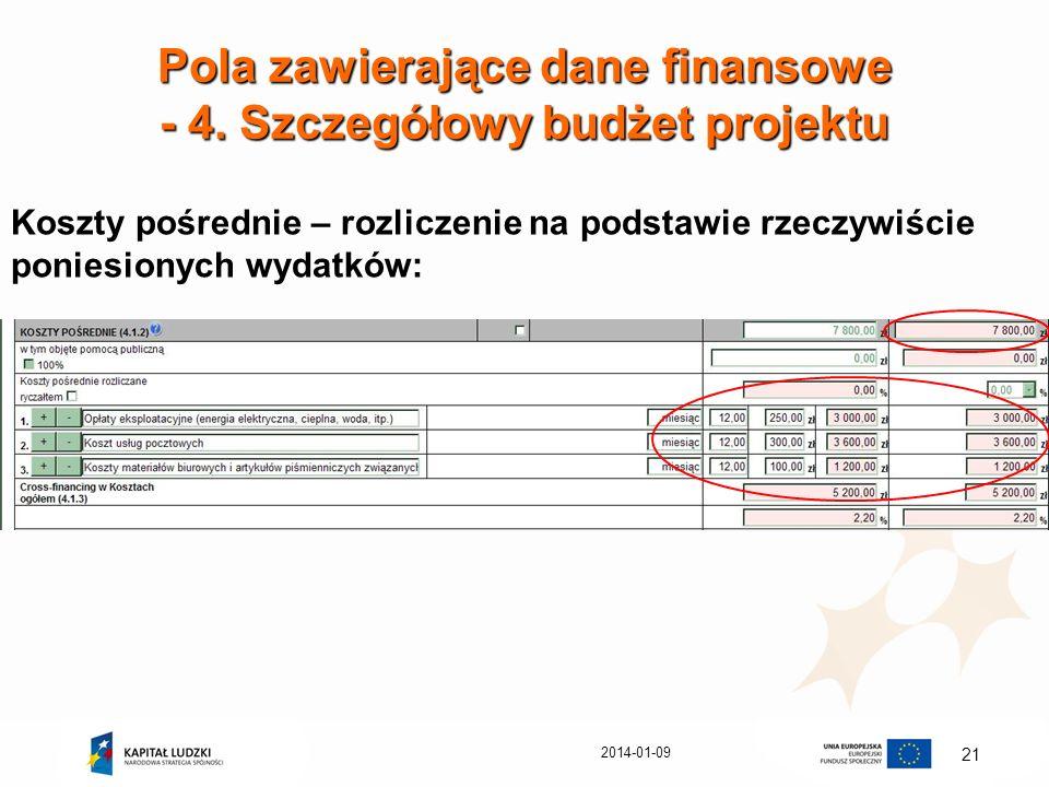 Pola zawierające dane finansowe - 4. Szczegółowy budżet projektu