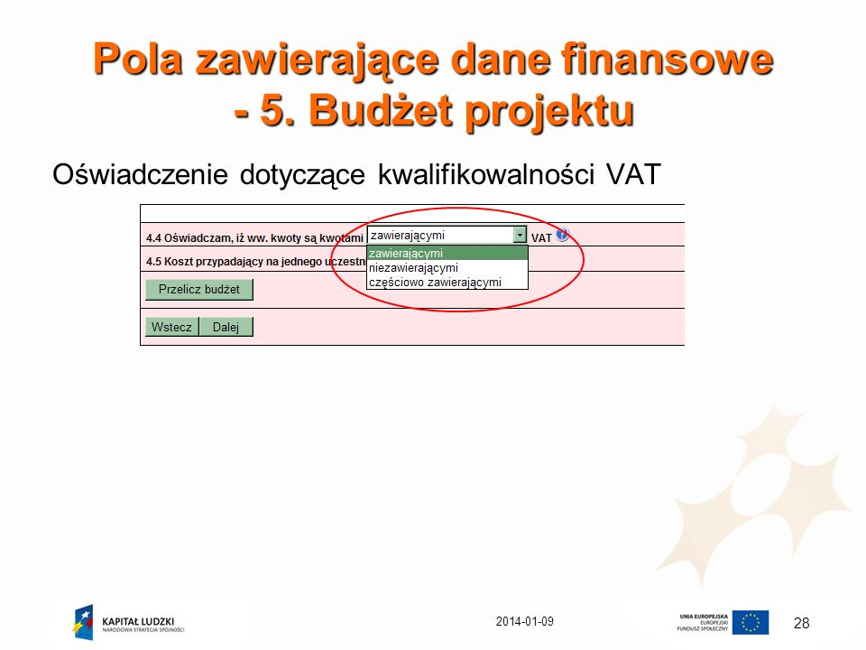 Pola zawierające dane finansowe - 5. Budżet projektu