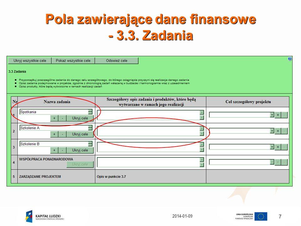 Pola zawierające dane finansowe - 3.3. Zadania