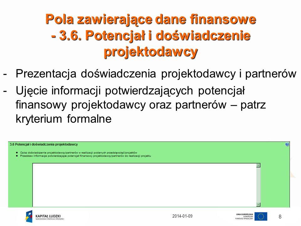 Pola zawierające dane finansowe - 3. 6