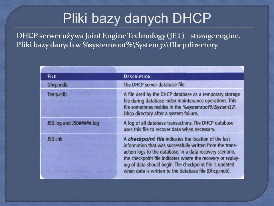 Pliki bazy danych DHCP DHCP serwer używa Joint Engine Technology (JET) - storage engine.