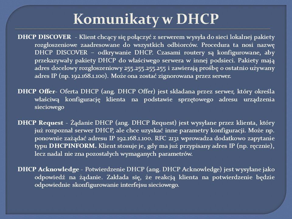Komunikaty w DHCP