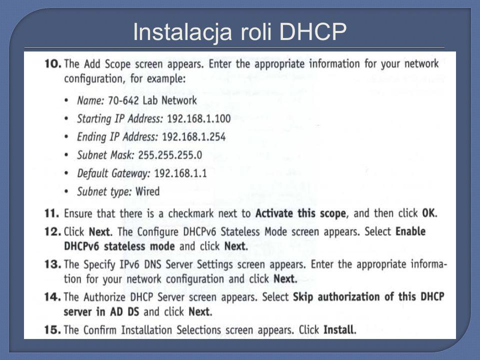 Instalacja roli DHCP