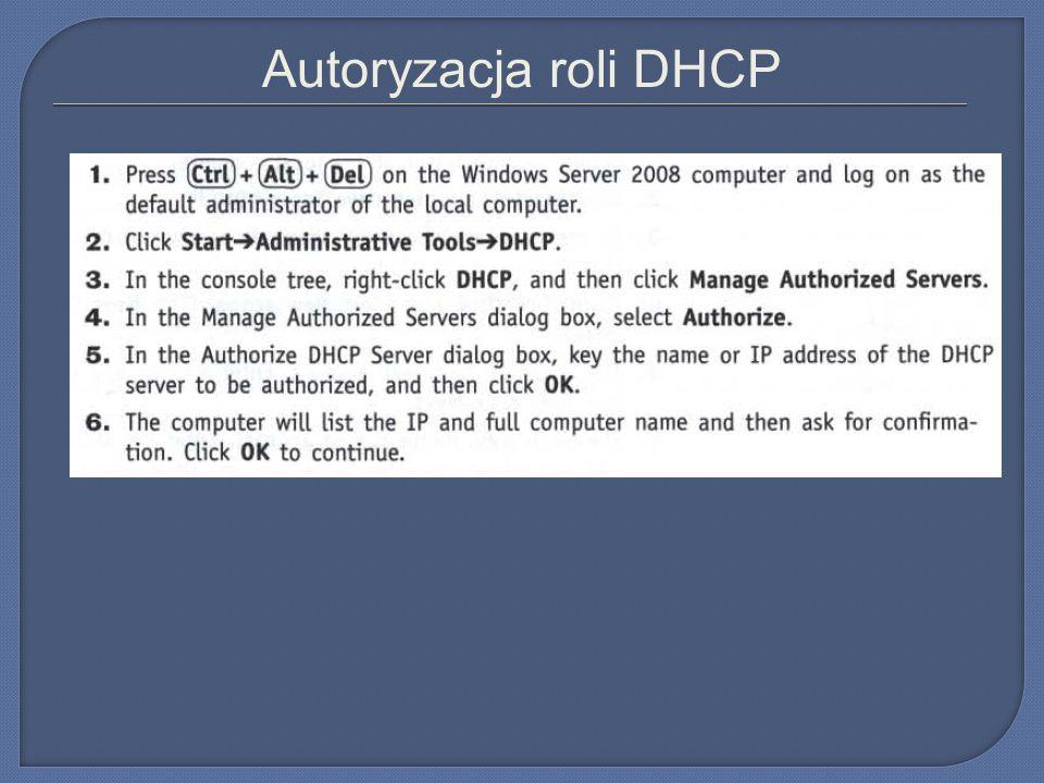 Autoryzacja roli DHCP