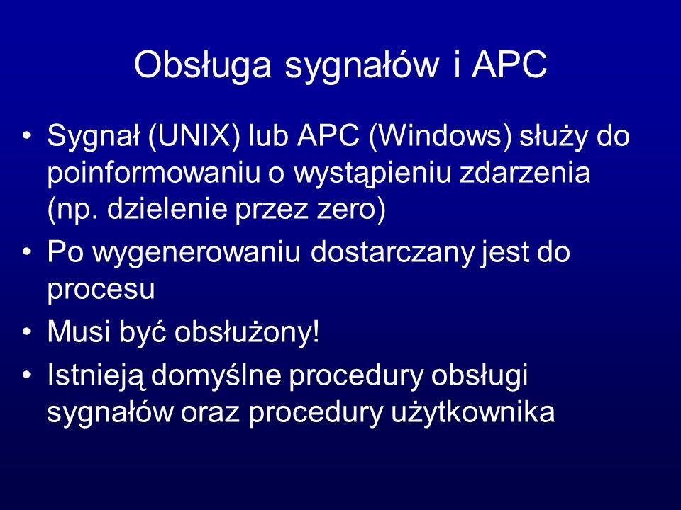 Obsługa sygnałów i APC Sygnał (UNIX) lub APC (Windows) służy do poinformowaniu o wystąpieniu zdarzenia (np. dzielenie przez zero)