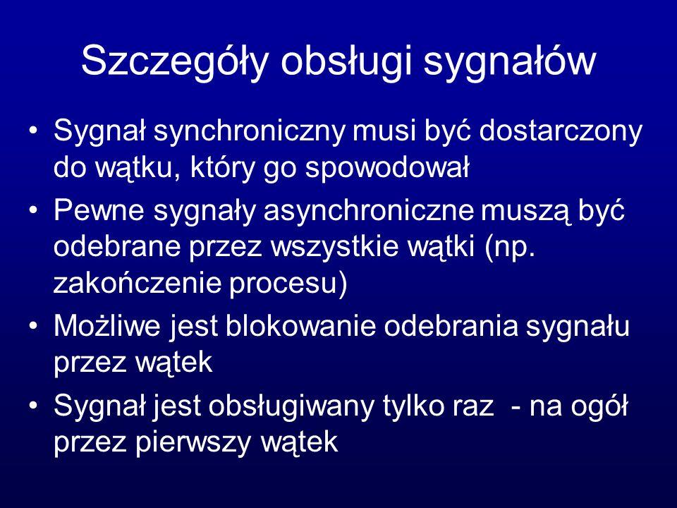 Szczegóły obsługi sygnałów