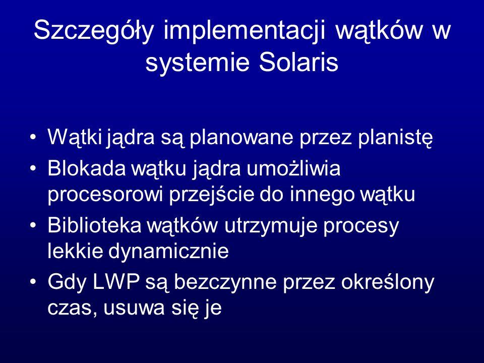Szczegóły implementacji wątków w systemie Solaris