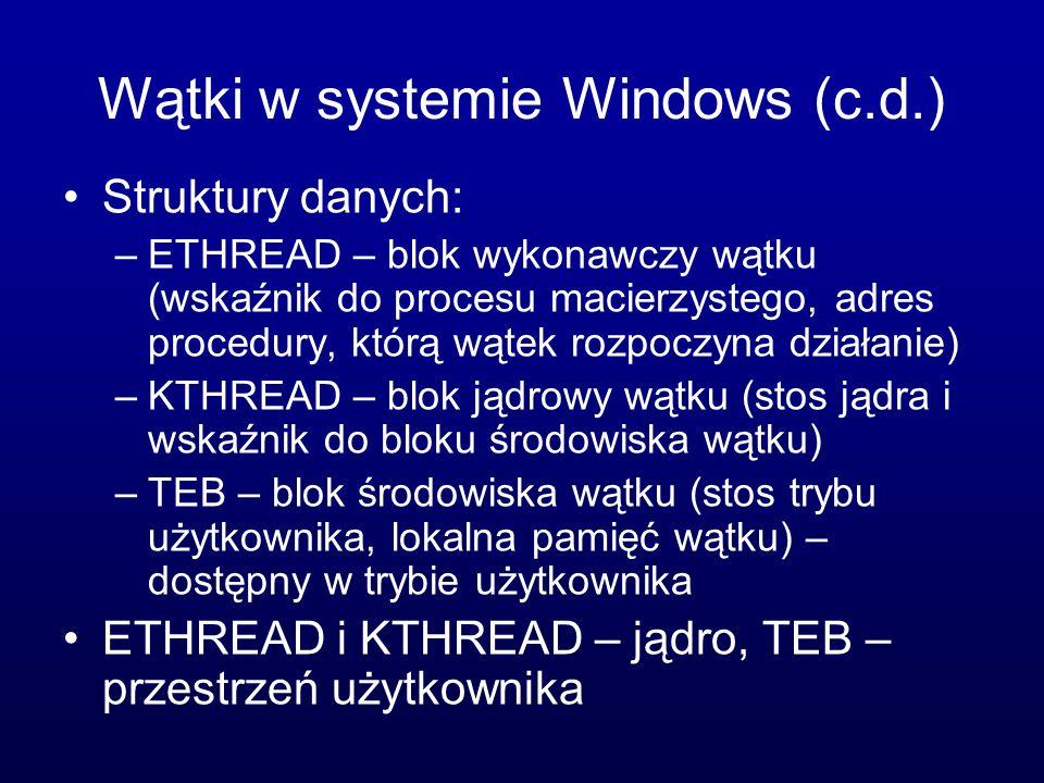 Wątki w systemie Windows (c.d.)