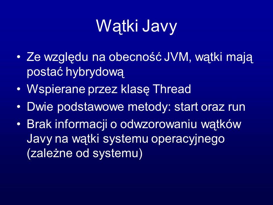 Wątki Javy Ze względu na obecność JVM, wątki mają postać hybrydową