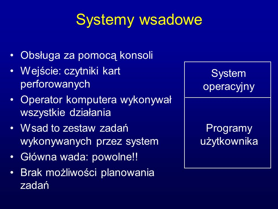 Systemy wsadowe Obsługa za pomocą konsoli