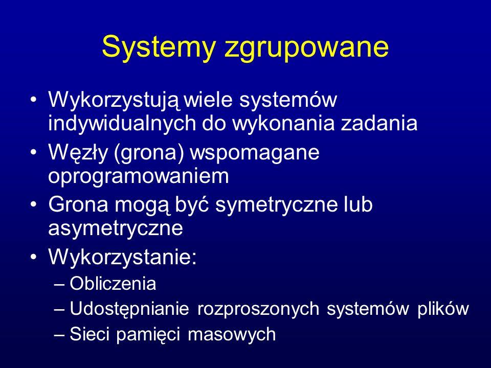 Systemy zgrupowane Wykorzystują wiele systemów indywidualnych do wykonania zadania. Węzły (grona) wspomagane oprogramowaniem.