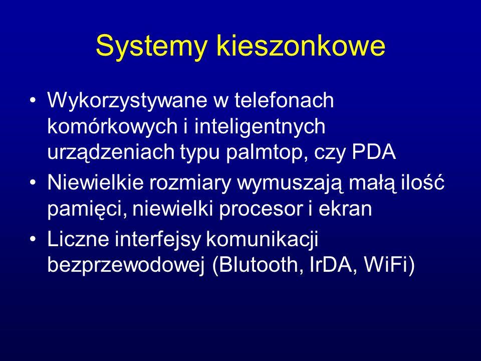 Systemy kieszonkowe Wykorzystywane w telefonach komórkowych i inteligentnych urządzeniach typu palmtop, czy PDA.