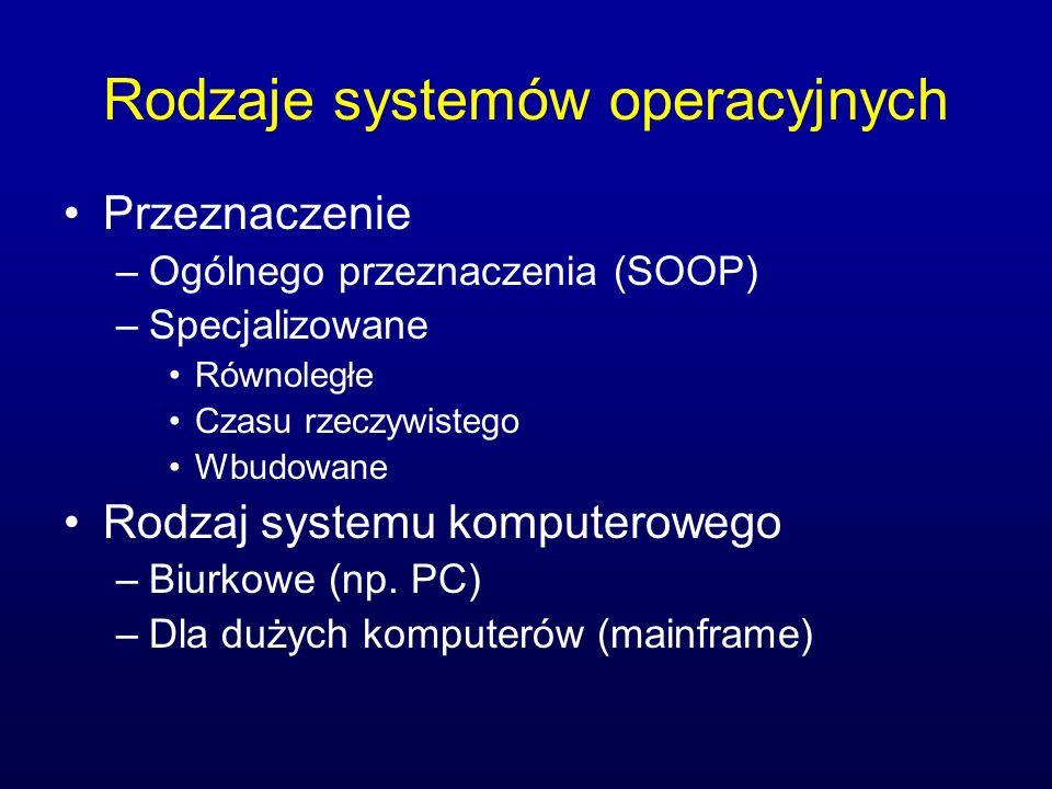 Rodzaje systemów operacyjnych