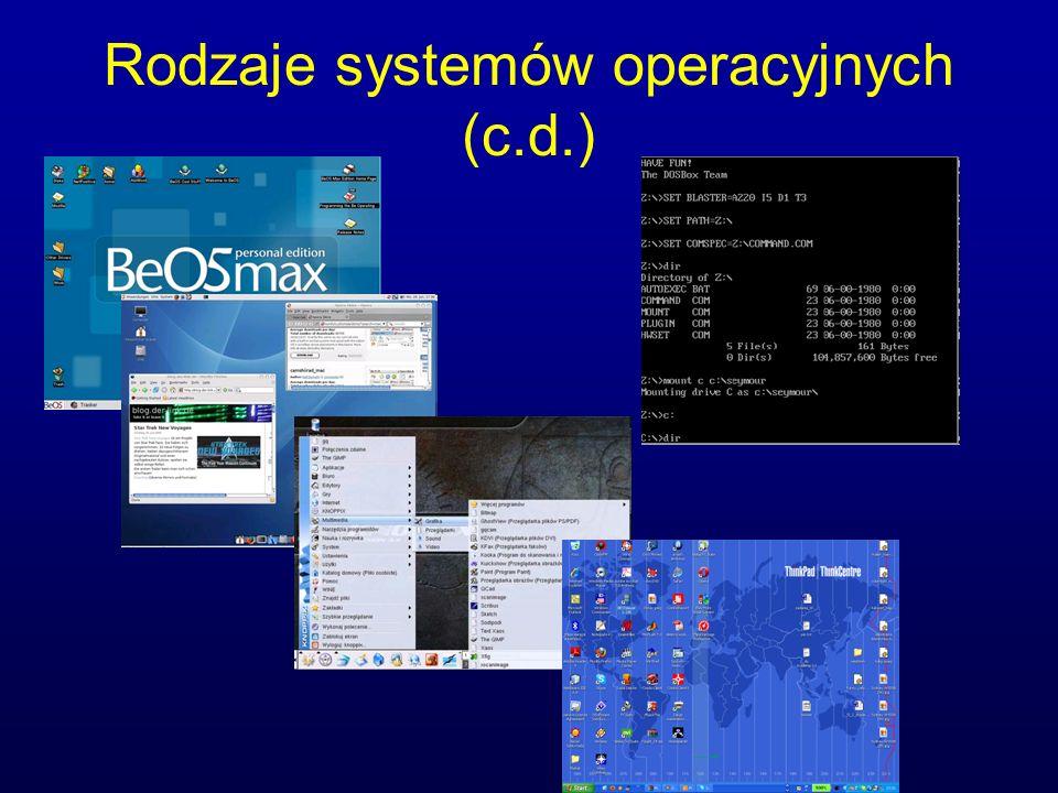 Rodzaje systemów operacyjnych (c.d.)